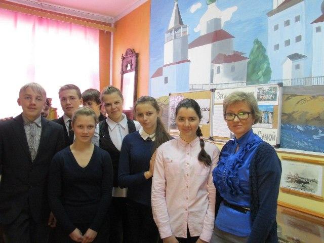 """Участники проекта """"Верни былую славу, Сумпосад!"""" в школьном музее"""